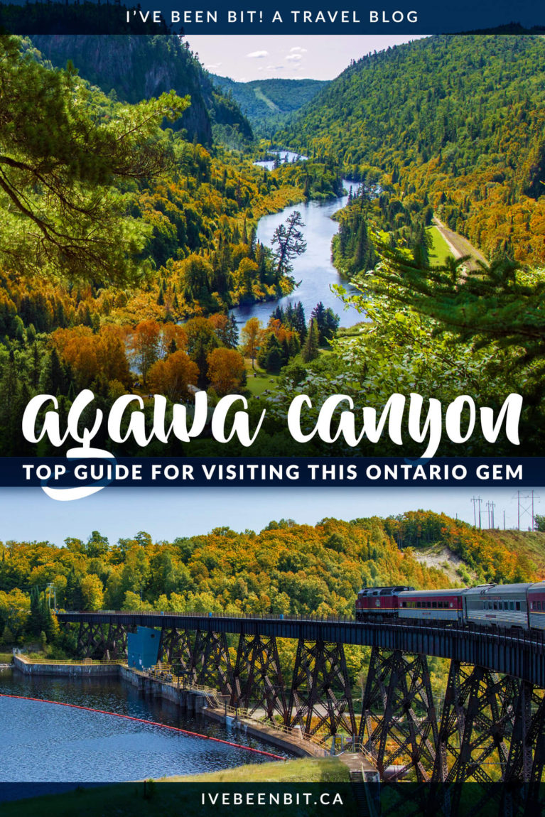This is the best scenic train in Ontario you could take! Travel to the heart of Northern Ontario with an epic full-day excursion on the Agawa Canyon Tour Train. The majestic views will take your breath away! This is one day trip from Sault Ste Marie you won't want to miss. | #Travel #Canada #Ontario #SaultSteMarie #AgawaCanyon #Summer | IveBeenBit.ca