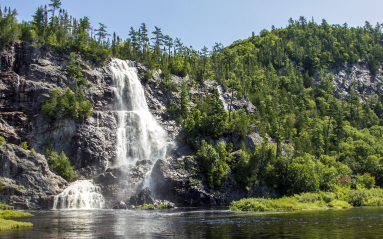 View of Bridal Veil Falls from the Agawa Canyon Train Ride :: I've Been Bit! A Travel Blog