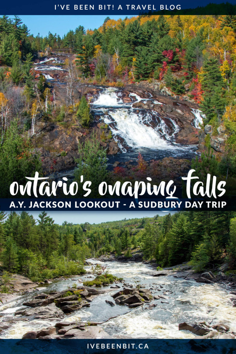 If you love chasing waterfalls in Ontario, you gotta plan a hiking trip to see this one! If you're heading to Northern Ontario, plan a day trip from Sudbury to visit Onaping Falls and the A.Y. Jackson Lookout. This lesser known Ontario waterfall is a must visit! | #Travel #Canada #Ontario #NorthernOntario #Waterfalls #Hiking | IveBeenBit.ca