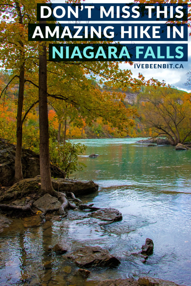 Looking to hike in Ontario, Canada on a trail that offers amazing views, stellar fall foliage & a lot less people? Do some Niagara Falls hiking at the Niagara Glen Nature Reserve! | #Travel #Hiking #HikingTrails #Niagara #NiagaraFalls #NiagaraGlen #Ontario #Canada #Fall #FallFoliage #Autumn | IveBeenBit.ca