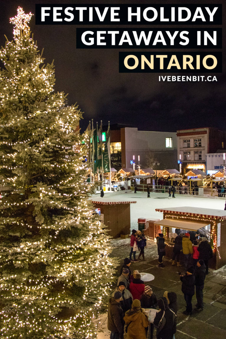 Looking for a Christmas getaway in Ontario? You won't want to miss these festive destinations that are guaranteed to get you in the holiday spirit! Christmas in Ontario. | #Travel #Canada #Ontario #Toronto #Waterloo #NiagaraFalls #Christmas | IveBeenBit.ca