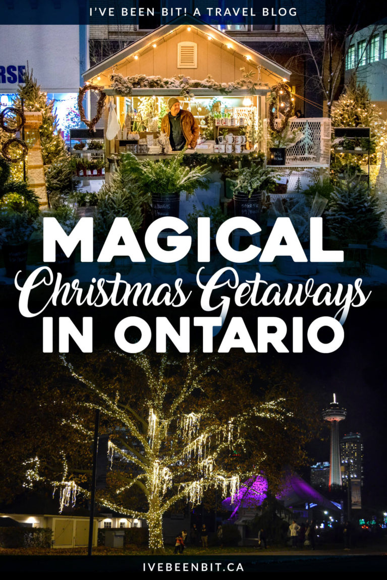 Looking for a Christmas getaway? Check out these fabulous options in Toronto, Waterloo, Niagara Falls and more! They're guaranteed to put you in the festive spirit! | #Travel #Canada #Ontario #Toronto #Waterloo #Kitchener #NiagaraFalls #NiagaraOnTheLake #Christmas | IveBeenBit.ca