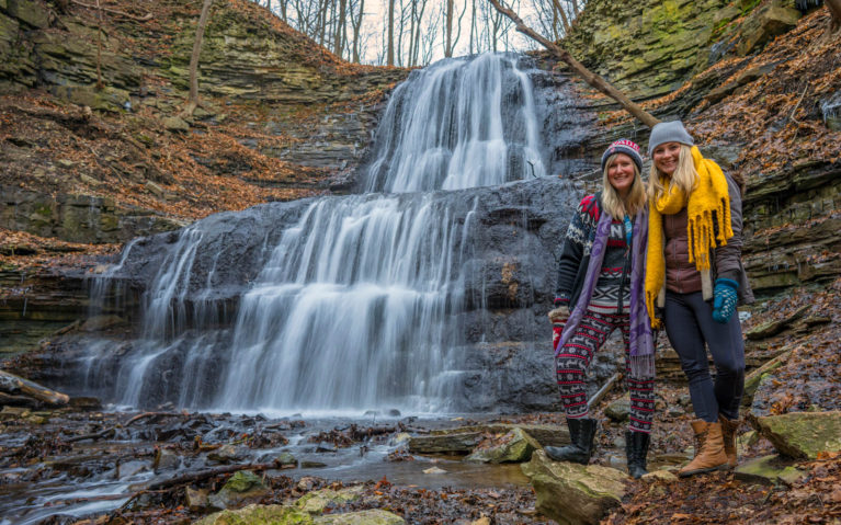 2018 Travel Recap - Myself and Ashlyn at Sherman Falls in Hamilton, Ontario! :: I've Been Bit! A Travel Blog