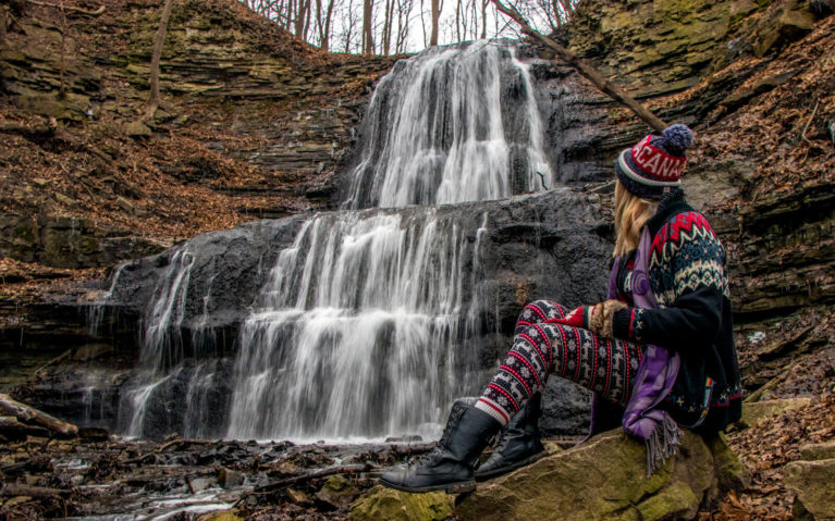 Me with Sherman Falls, Late Autumn :: I've Been Bit! A Travel Blog