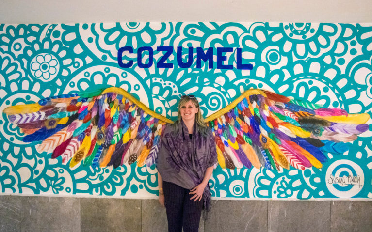 Lindsay with Cozumel Wings at Cozumel Airport in Mexico :: I've Been Bit! A Travel Blog