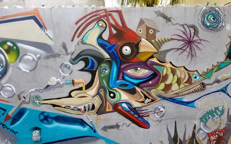 Bird Shark Fish Mash Up Mural in Cozumel :: I've Been Bit! Travel Blog