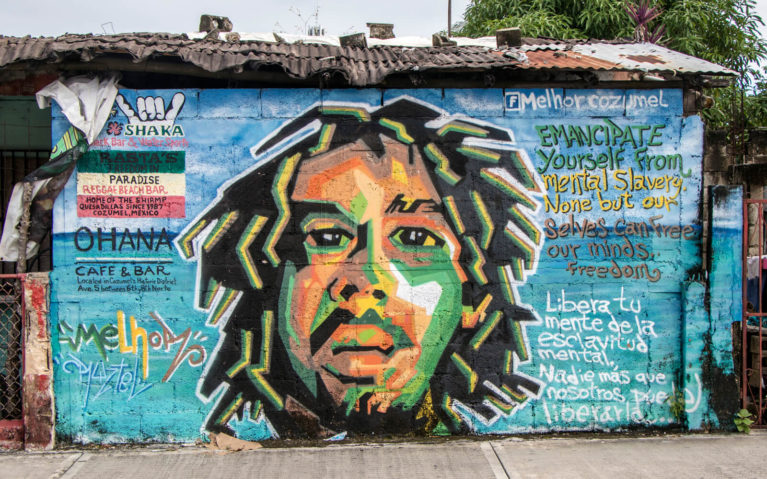 Bob Marley Mural by Melhor in Cozumel, Mexico :: I've Been Bit! Travel Blog