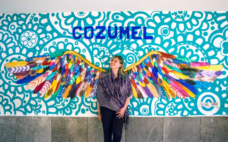Lindsay with the Cozumel Wings at Cozumel Airport :: I've Been Bit! Travel Blog