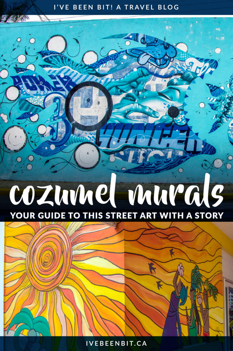 No matter the length of your stay, one of the top things to do in Cozumel is to hunt for street art. Check out this detailed list of Cozumel's street art! | Street Art in Cozumel | Cozumel Murals | Things to Do in Cozumel Mexico | PangeaSeed Sea Walls Cozumel Mexico | Artists For Oceans | Cozumel Mexico Travel | #Mexico #Cozumel #StreetArt #Graffiti | IveBeenBit.ca