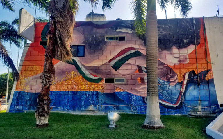 Mural on the Side of City Hall in Cozumel, Mexico :: I've Been Bit! Travel Blog