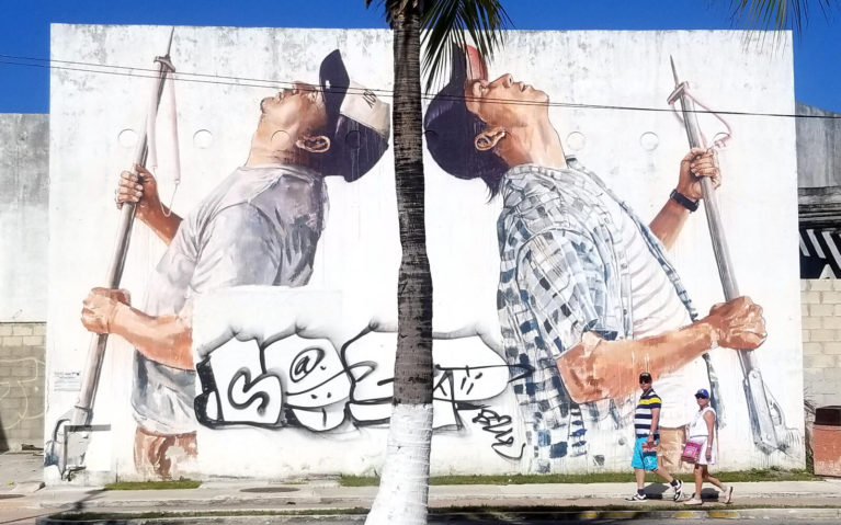 Two Fisherman on a Mural in Cozumel, Mexico :: I've Been Bit! Travel Blog