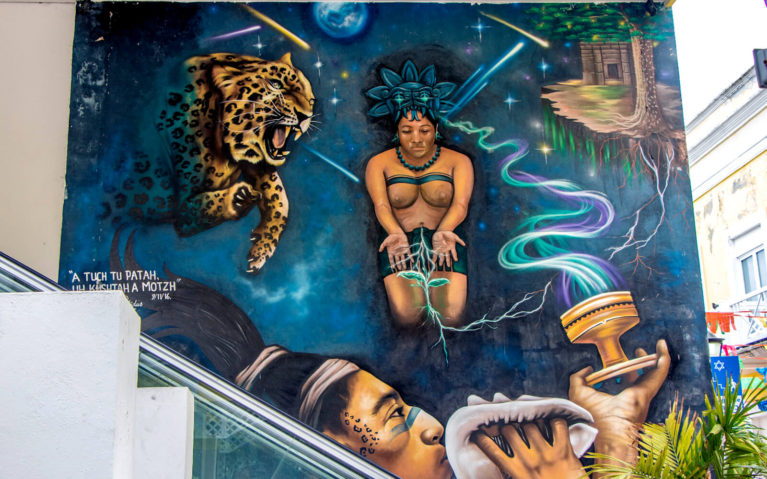 Mural with a Man and Woman Praying, Summoning a Leopard Spirit in Cozumel, Mexico :: I've Been Bit! Travel Blog