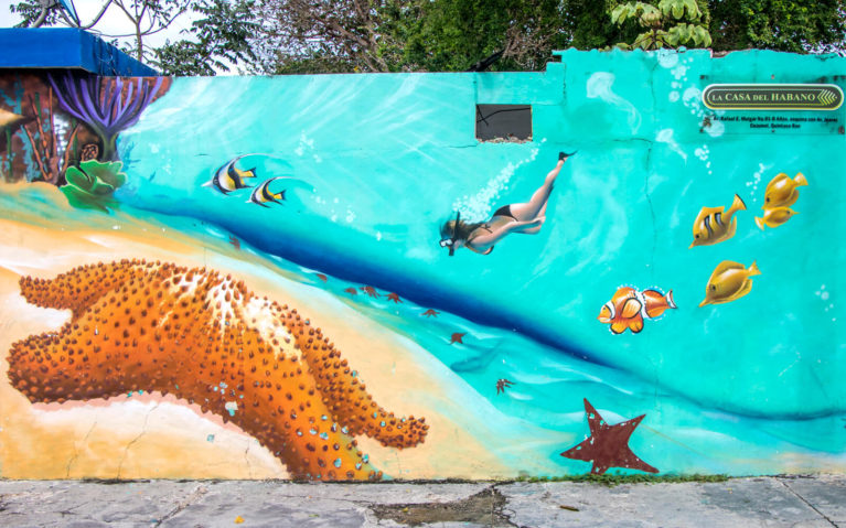 Another Half of the Mural Pictured Above with Starfish, Lady Swimming and Other Marine Life :: I've Been Bit! Travel Blog