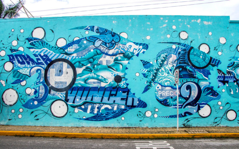 Fish Eats Fish in this Pangeaseed Sea Walls Mural in Cozumel :: I've Been Bit! Travel Blog