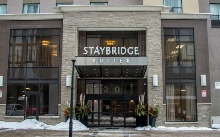 Shot of Staybridge Suites from Across the Street in Hamilton, Ontario