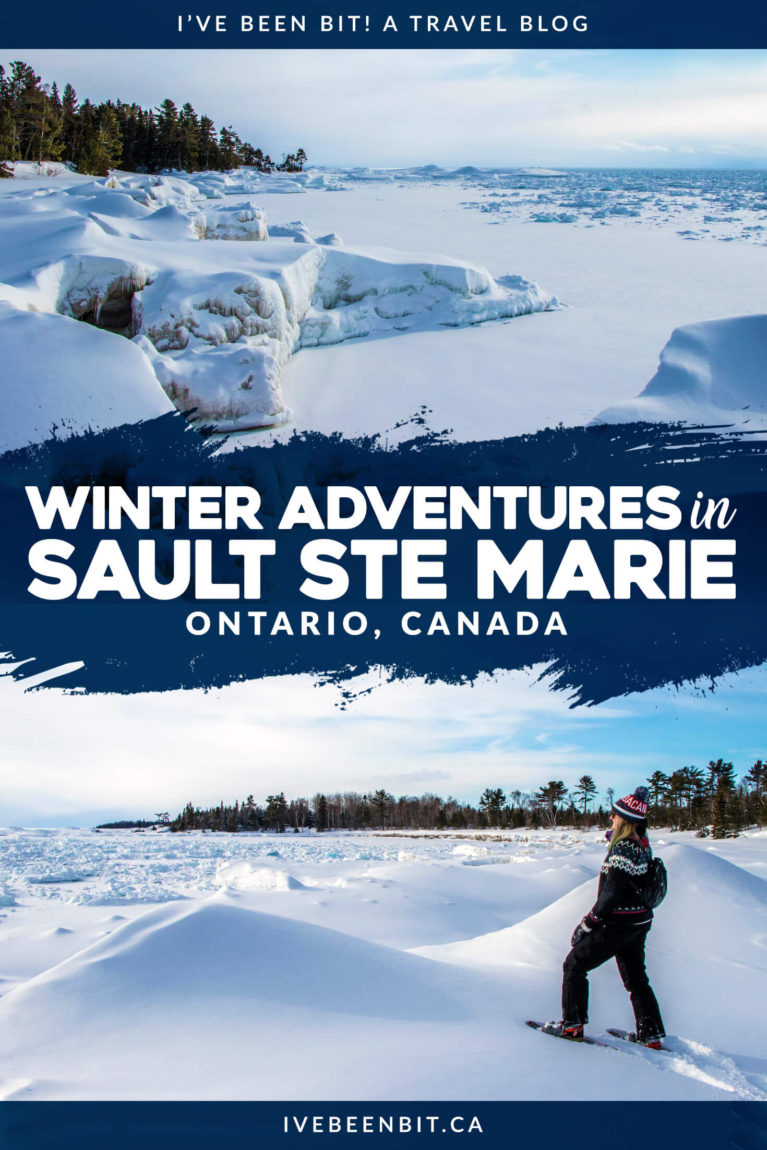 What destination is snow-mazing in the winter? Sault Ste Marie, Ontario! If you're planning to travel there, don't miss out on these awesome things to do in Sault Ste Marie Ontario in the winter months. | #Travel #Canada #Ontario #SaultSteMarie #Winter #Snowshoeing | IveBeenBit.ca