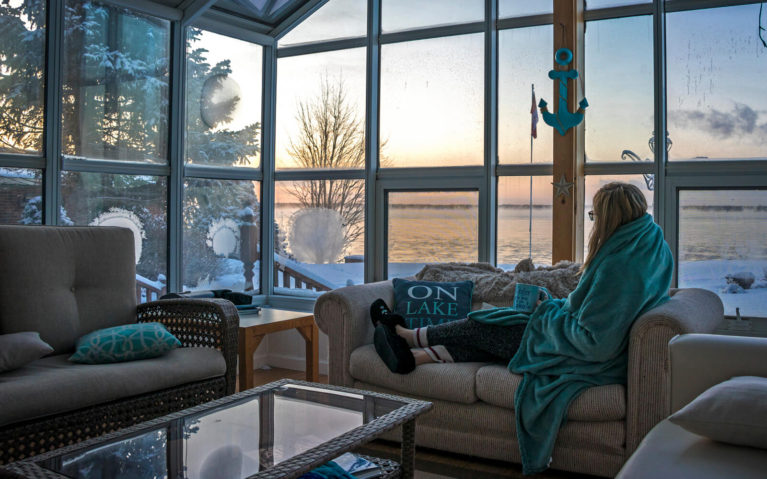 Lindsay Looking Out Over Sault Ste Marie at Sunrise :: I've Been Bit! Travel Blog