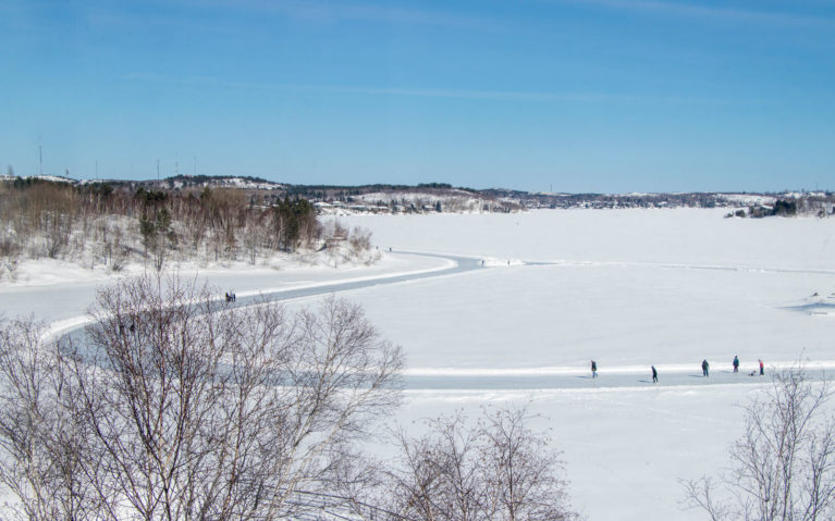 View of the Ramsey Lake Skate Trail from Science North :: I've Been Bit! Travel Blog