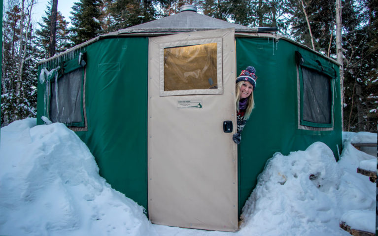Lindsay Peeking Outside of the Yurt at Windy Lake Provincial Park :: I've Been Bit! Travel Blog