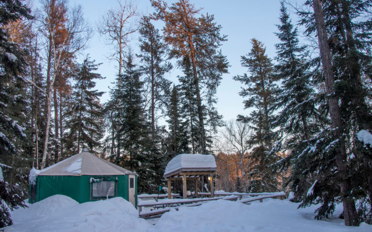 View of the Yurt from the Trail at Windy Lake Provincial Park :: I've Been Bit! Travel Blog
