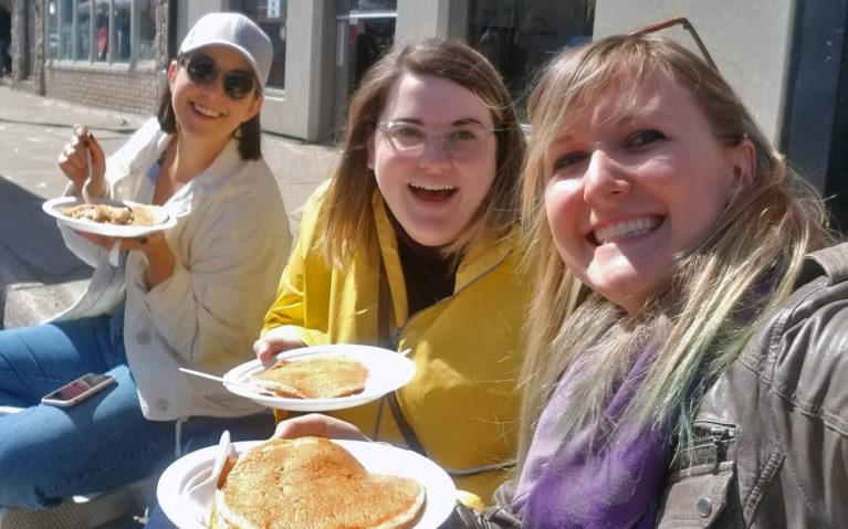Lindsay Enjoying Maple Pancakes with Friends :: I've Been Bit! Travel Blog
