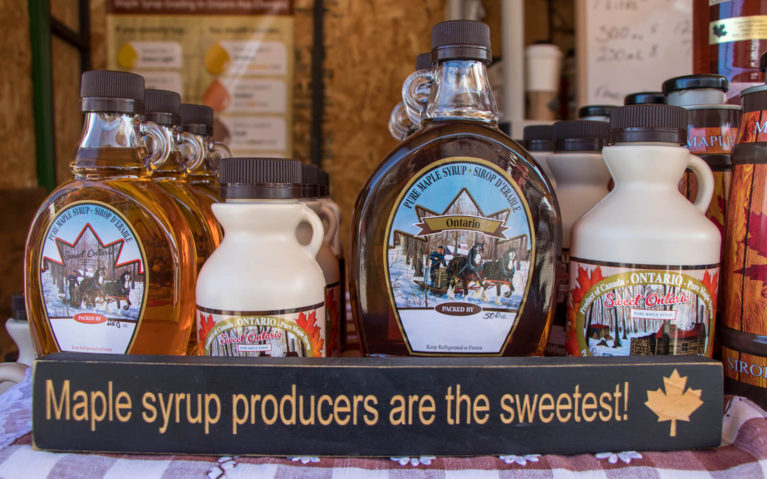Maple Syrup Jars at One of the Maple Syrup Festivals in Ontario :: I've Been Bit! Travel Blog