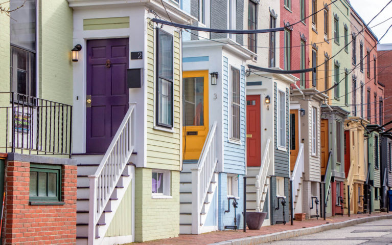 Coloured Row Houses in Portland, Maine :: I've Been Bit! Travel Blog