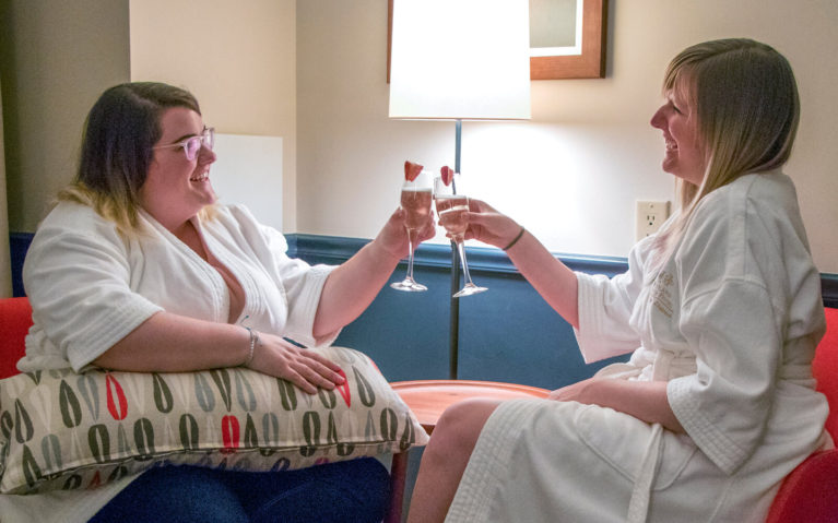 Olivia and I Cheers-ing As We Enjoy the Room's Plush Robes During Our Portland Girls Getaway! :: I've Been Bit! Travel Blog