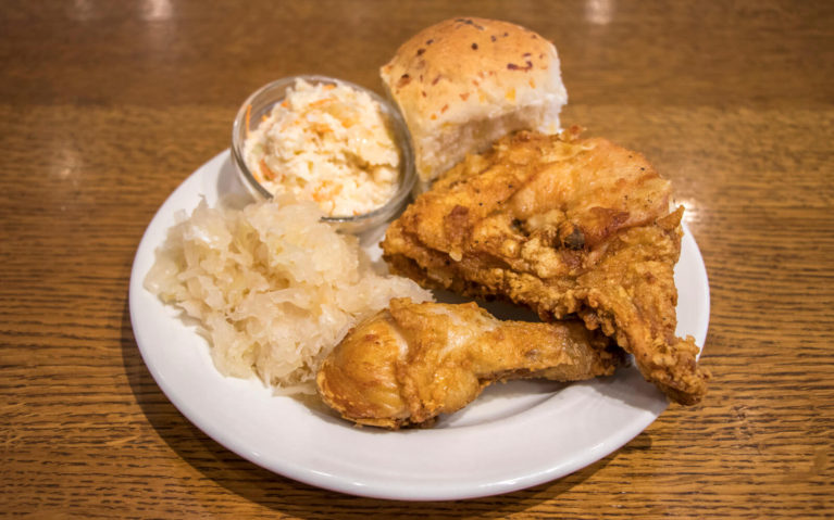 Small Portion Broasted Chicken Dinner with Sauerkraut and Coleslaw at Anna Mae's in Millbank, Perth County :: I've Been Bit! Travel Blog