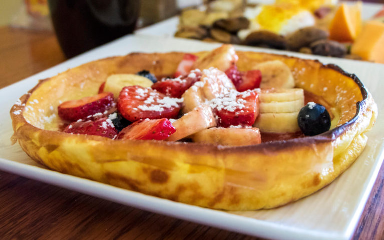 Dutch Pancake with Strawberries, Bananas and Blueberries on Top at J's Amazing Breakfast, a Wiarton Restaurant :: I've Been Bit! Travel Blog