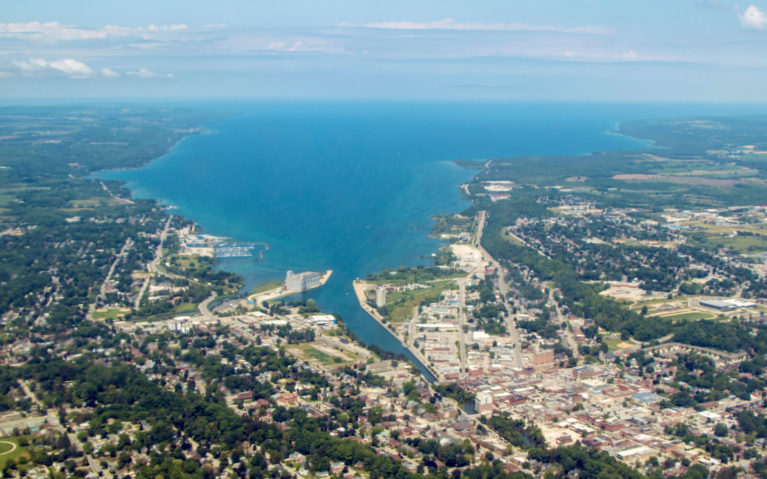 View of Owen Sound from the FlyGTA Flight Between Wiarton and Toronto :: I've Been Bit! Travel Blog