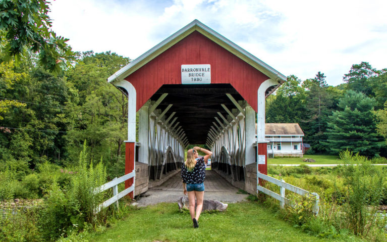 Lindsay Hunting for Covered Bridges, One of the Great Things to Do in the Laurel Highlands PA :: I've Been Bit! Travel Blog