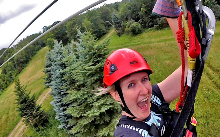 Lindsay Riding the Laurel Ridgeline Zipline :: I've Been Bit! Travel Blog