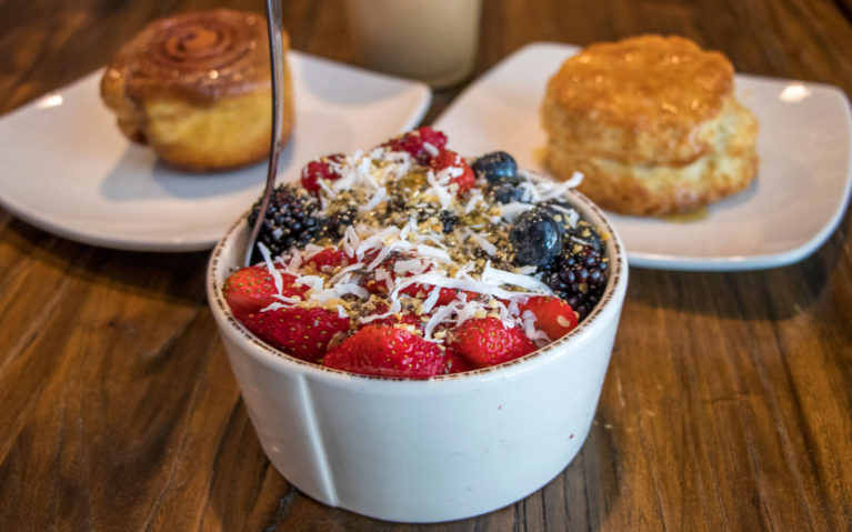 Açai Bowl with Honey Biscuit and Sticky Bun at Allenberry Resort's Breeches Bakery and Cafe :: I've Been Bit! Travel Blog