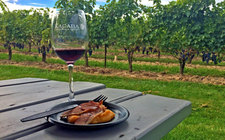 Glass of Red Wine with Food on a Picnic Table in Front of the Vineyards at Kacaba in Vineland :: I've Been Bit! Travel Blog