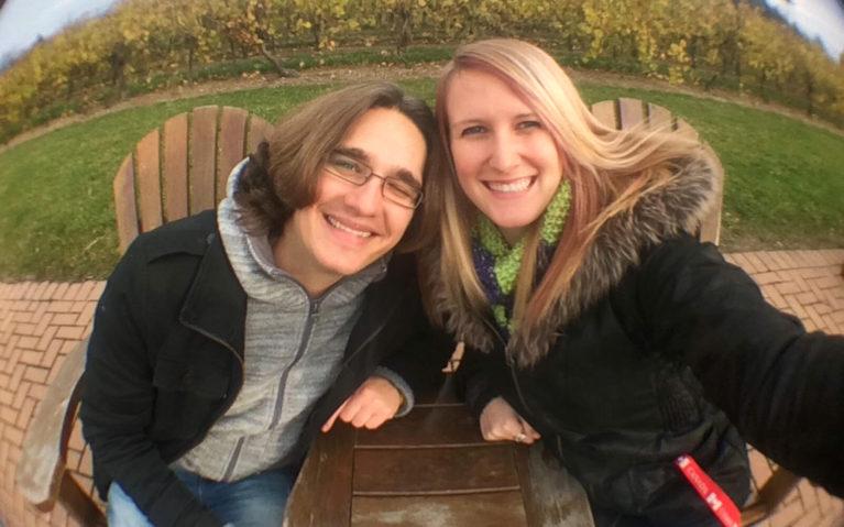 Robin and Lindsay Selfie in Front of Vines at Inniskillin :: I've Been Bit! Travel Blog