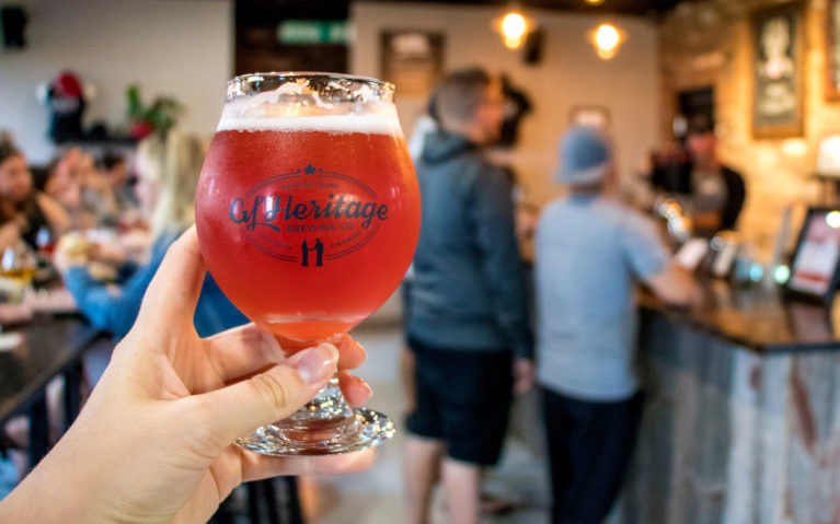 Glass of Cherry Wheat Ale at GL Heritage Brewing Company in Amherstburg Ontario :: I've Been Bit! Travel Blog
