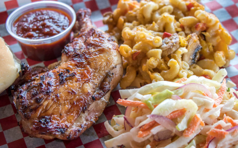 Jerk Chicken with Coleslaw and Mac and Cheese from To Your Kitchen at GL Heritage Brewing Co :: I've Been Bit! Travel Blog
