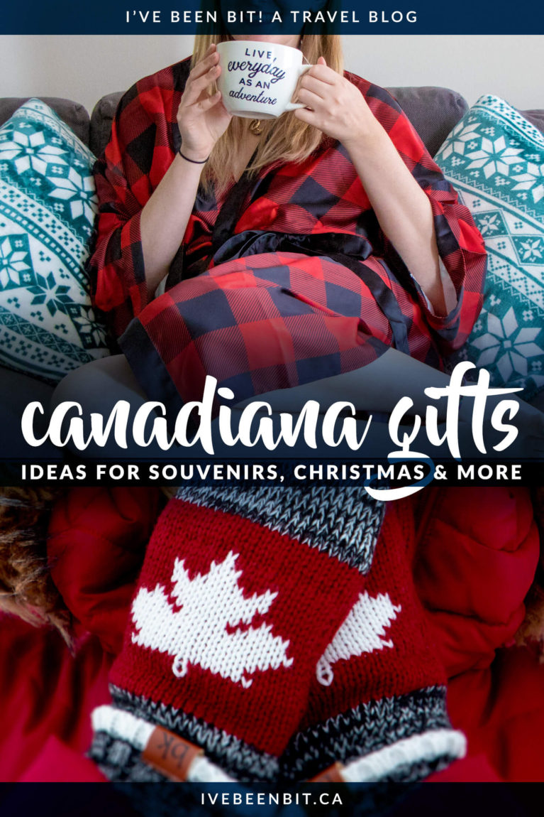 Maple? Yes. Plaid? Yes. Denim? Yes. This list has it all. Whether you're shopping for top Canadian souvenirs, for Christmas or just looking for a gift for the Canada lover on your list, this epic list of Canadian gifts has over 20 options that are guaranteed to be a hit! These are what you want to bring home as souvenirs from Canada. | #Travel #Canada #GiftGuide #Christmas | IveBeenBit.ca