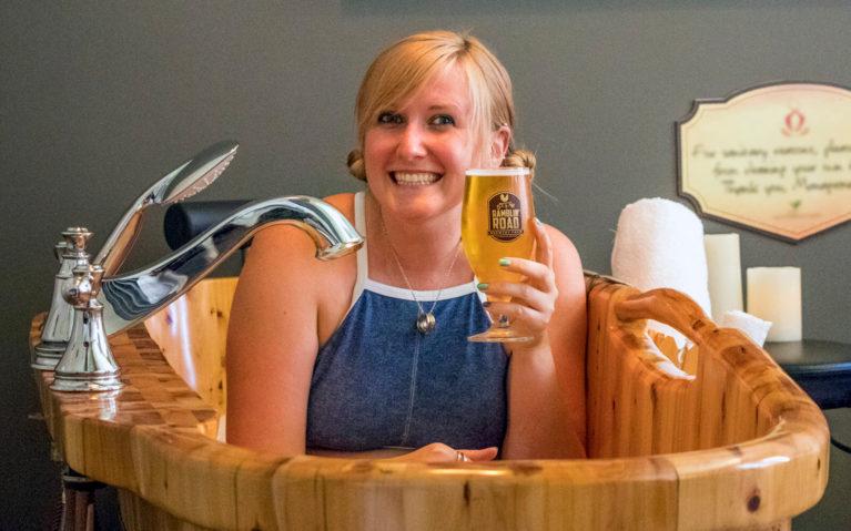 Lindsay Enjoying a Pint in the Beer Bath at Brantford's Grand Wellness Spa :: I've Been Bit! Travel Blog