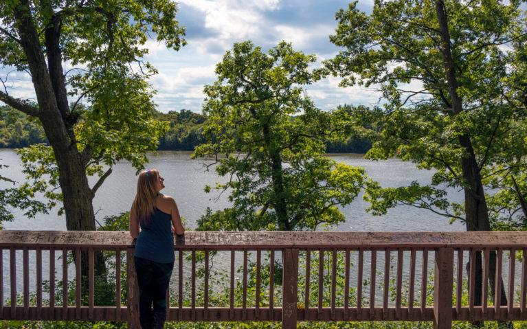 Lindsay Standing at the Lookout Platform in Brantford's Mohawk Park :: I've Been Bit! Travel Blog