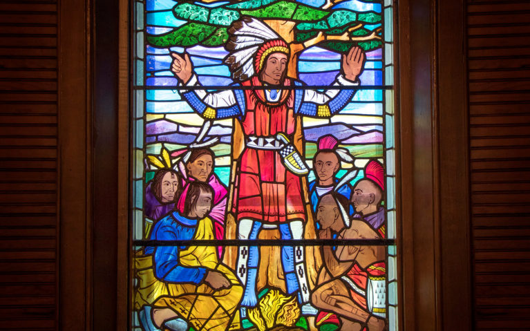 Close Up of One of the Stained Glass Window Panes Inside the Mohawk Chapel :: I've Been Bit! Travel Blog