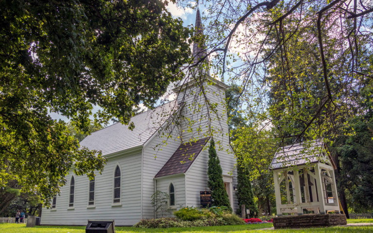 Outside of Her Majesty's Royal Chapel of the Mohawks in Brantford Ontario :: I've Been Bit! Travel Blog