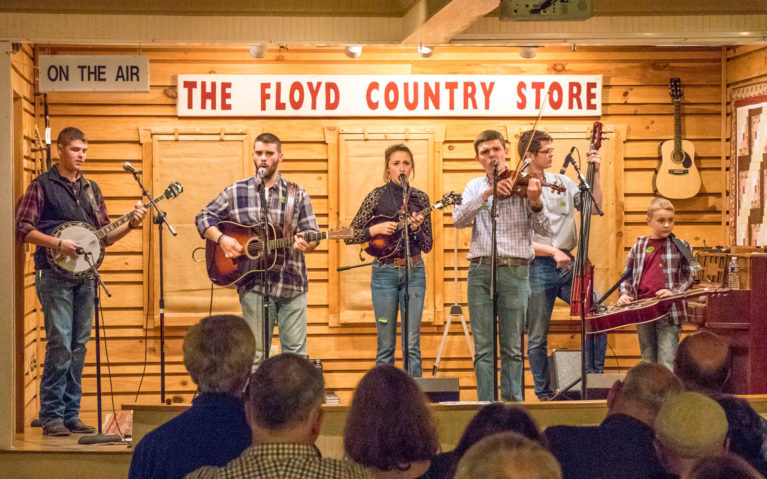Band on the Stage at The Floyd Country Store :: I've Been Bit! Travel Blog