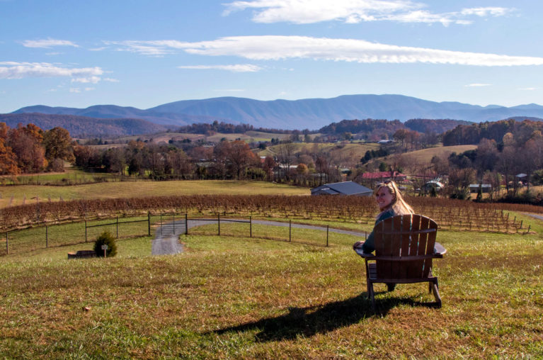 Lindsay Sitting in a Muskoka Chair Enjoying the Views from the Great Valley Farm Brewery :: I've Been Bit! Travel Blog