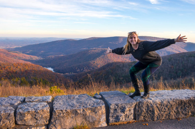 Lindsay Standing With Arms Outstretched at One of the Vistas in Shenandoah National Park :: I've Been Bit! Travel Blog