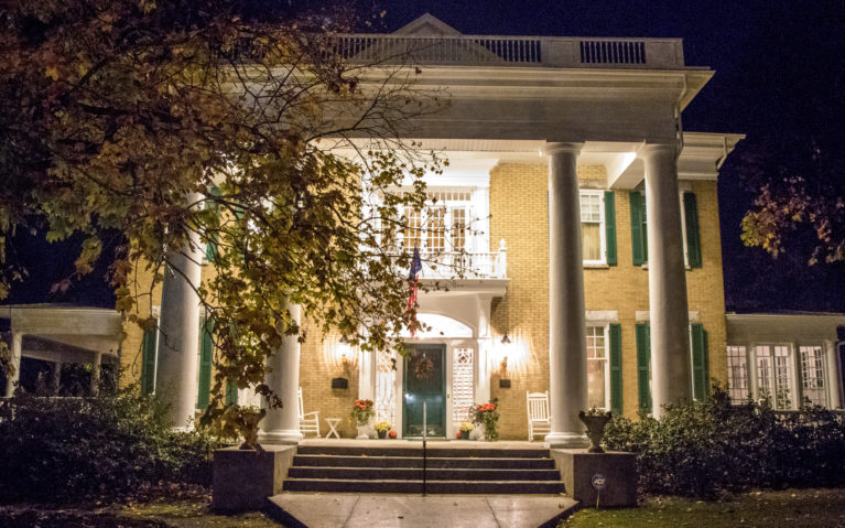 Outside of the Trinkle Mansion Bed and Breakfast at Nighttime :: I've Been Bit! Travel Blog