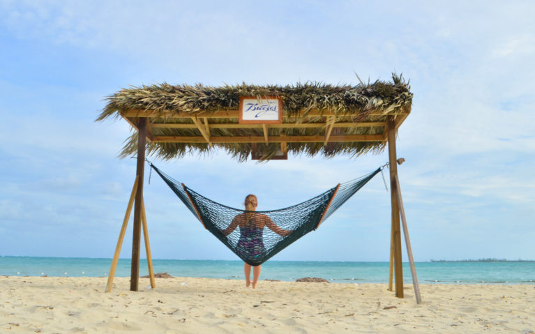 Lindsay Sitting on a Hammock on a Beach in Nassau, Bahamas :: I've Been Bit! Travel Blog