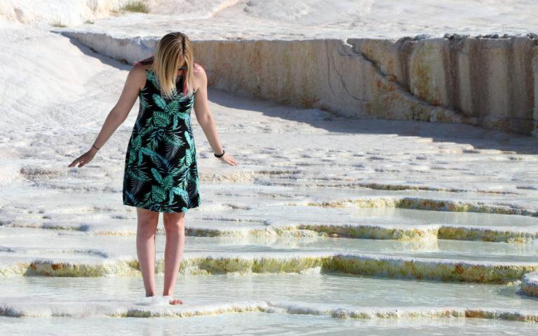 Lindsay Admiring Pamukkale's Travertines in Turkey :: I've Been Bit! Travel Blog