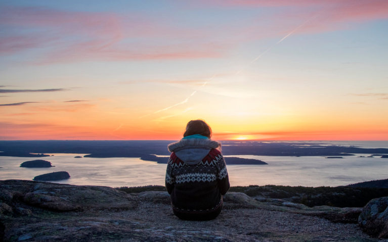 Lindsay Watching the Sunrise in Acadian National Park in Maine, USA :: I've Been Bit! Travel Blog